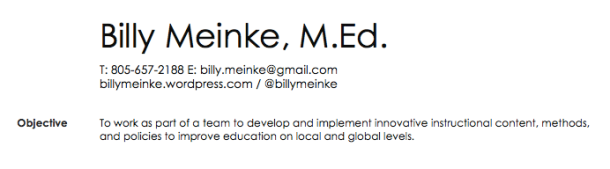 Billy Meinke Resume