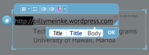 Hyperlink in Prezi with text selected