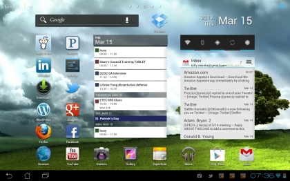 Android Tablet Screen Shot with Widgets