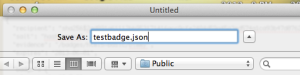 Saving a file with extension .json